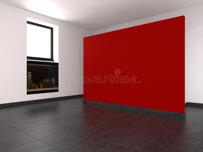 Modern empty room with red wall and aquarium royalty free illustration