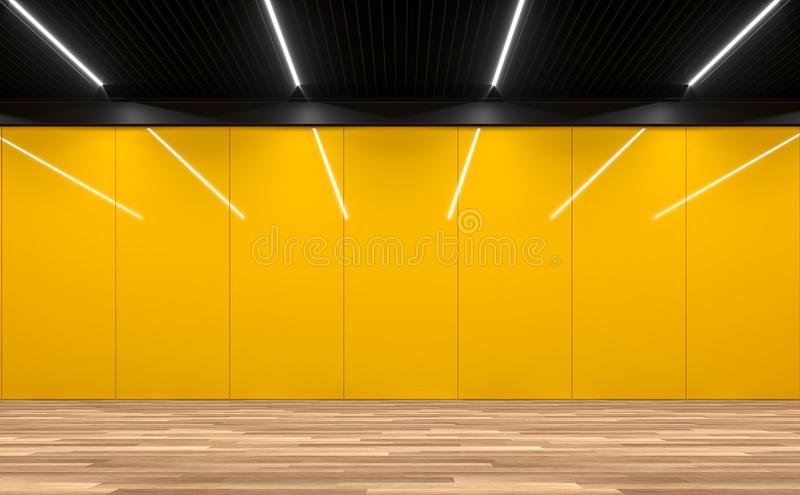 Modern empty room with yellow glossy wall 3d render. Modern empty room 3d render.There are wooden floor,yellow glossy wall and black steel ceiling vector illustration