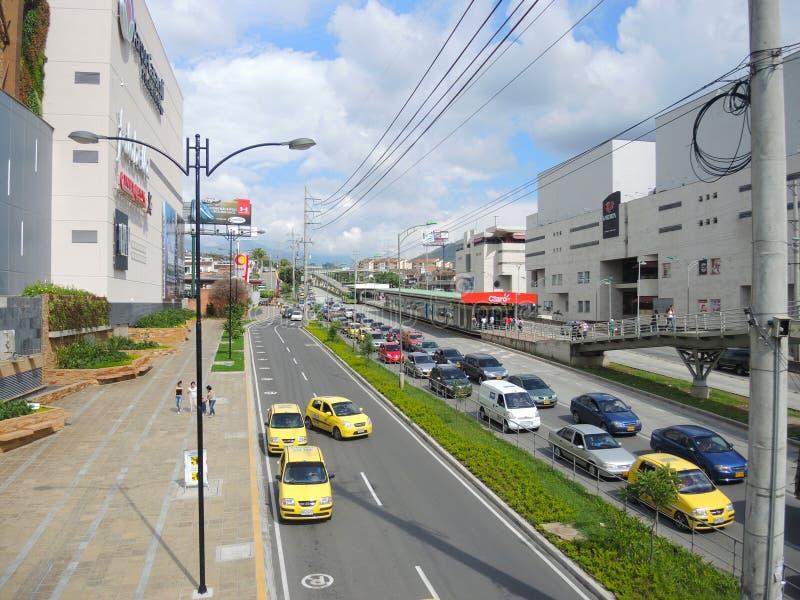 Modern en commercieel gebied in Bucaramanga, Colombia. stock afbeelding