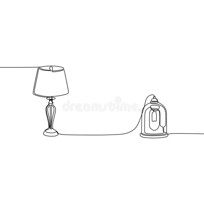 modern en linje stearinljuslamp- och tabelllampor med lampskärmar ocks? vektor f?r coreldrawillustration St?ll in av isolerade sv vektor illustrationer