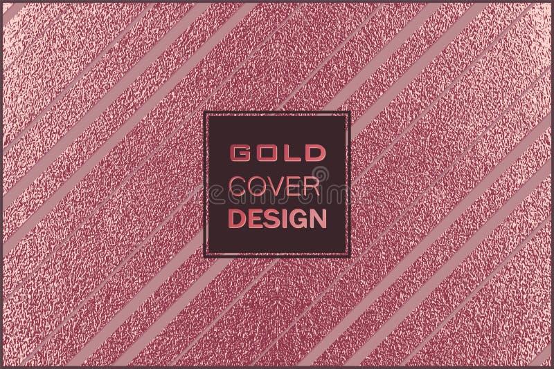 Modern en modieus minimaal ontwerp Koper glanzende achtergrond Metaal textuur Bronsmetaal stock illustratie