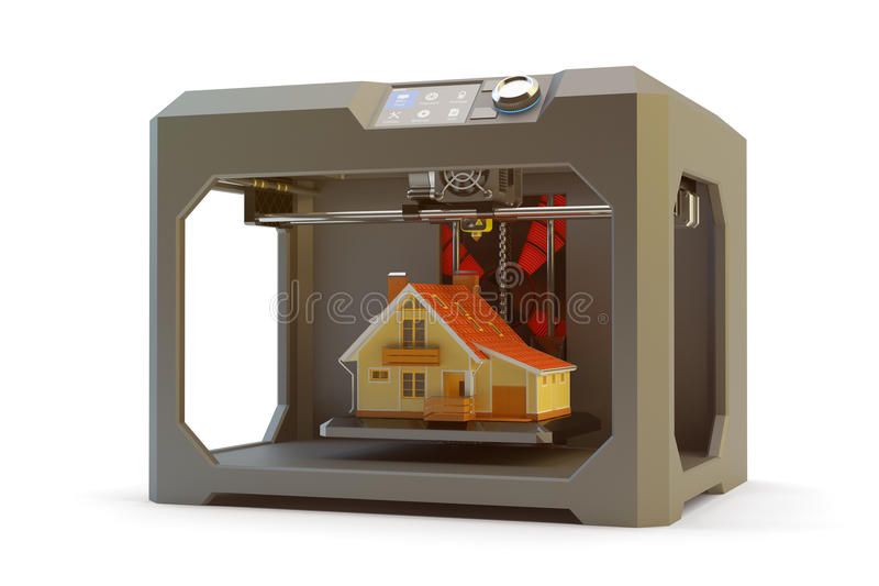 Modern engineering, construction, creating objects and printing technology concept. Black plastic 3d printer machine making realistic house model, on white stock illustration