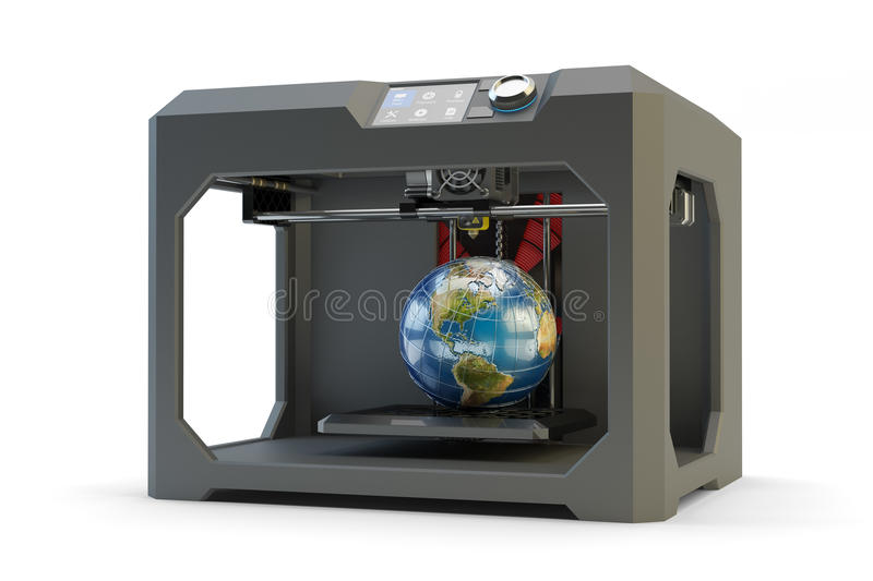Modern engineering, prototyping, creating objects and printing technology concept. Black plastic 3d printer machine making Earth globe, on white royalty free illustration