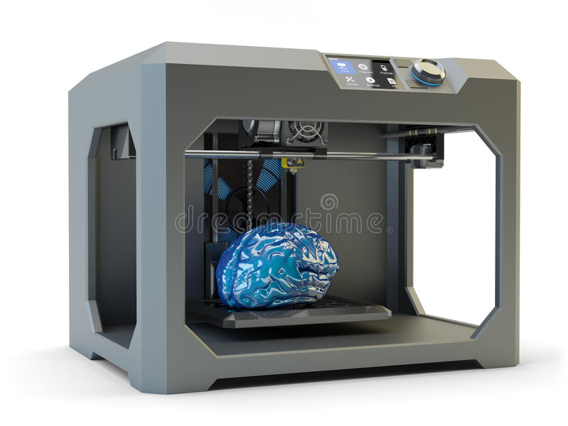 Modern engineering, prototyping, creating objects and printing technology concept. Black plastic 3d printer machine making human brain, on white background vector illustration