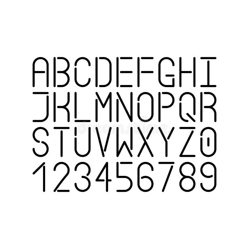 Modern enkel linje stilsort Bokstäver och nummer för vektor uppercase Infographic och futuristisk design vektor illustrationer