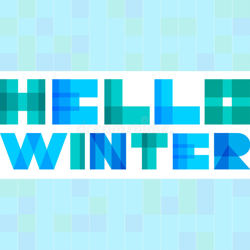 Modern enkel rektangel colorised bokstäver Hello övervintrar begrepp royaltyfri illustrationer