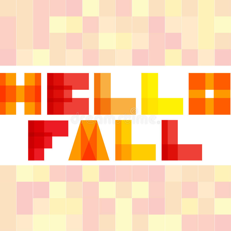 Modern enkel rektangel colorised bokstäver Hello faller begreppet vektor illustrationer