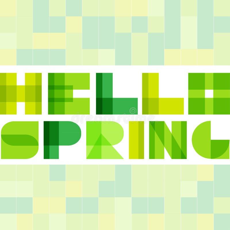 Modern enkel rektangel colorised bokstäver Hello fjädrar begrepp stock illustrationer