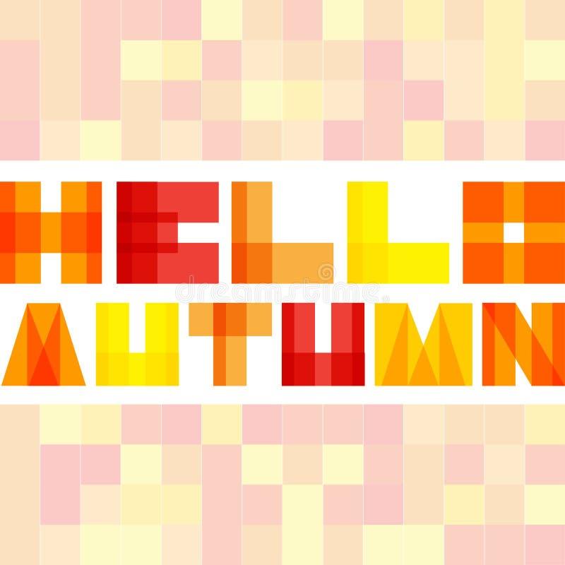 Modern enkel rektangel colorised bokstäver Hello höstbegrepp royaltyfri illustrationer