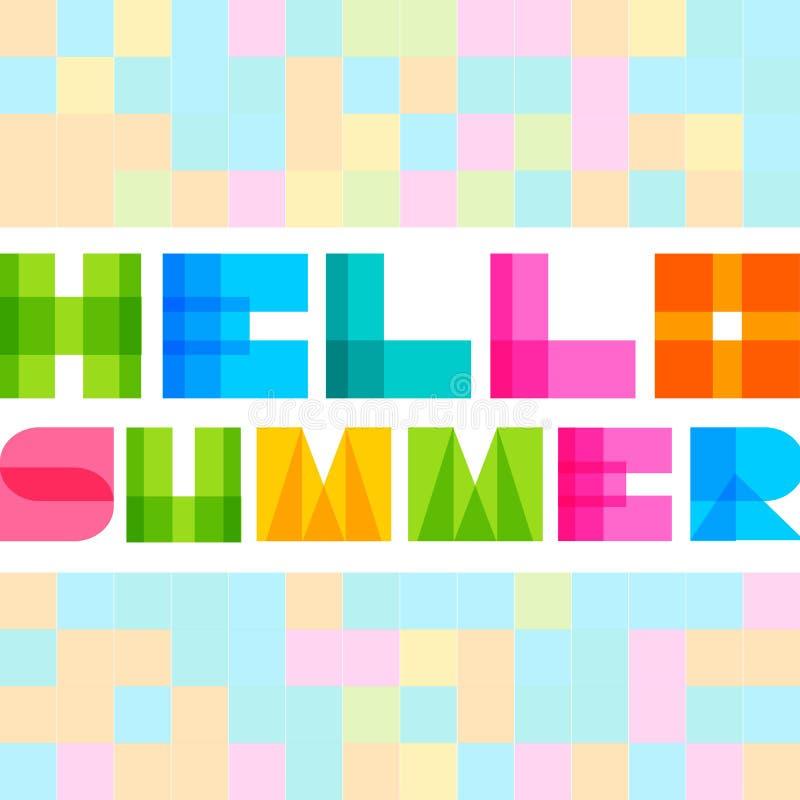 Modern enkel rektangel colorised bokstäver Hello sommarbegrepp royaltyfri illustrationer