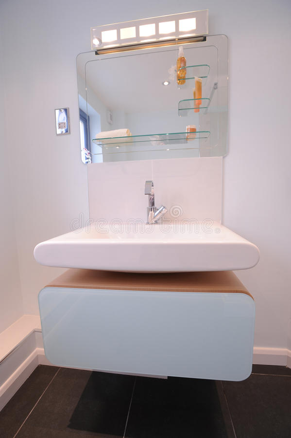 Modern ensuite bathroom. A contemporary designer ensuite in a new property development stock image