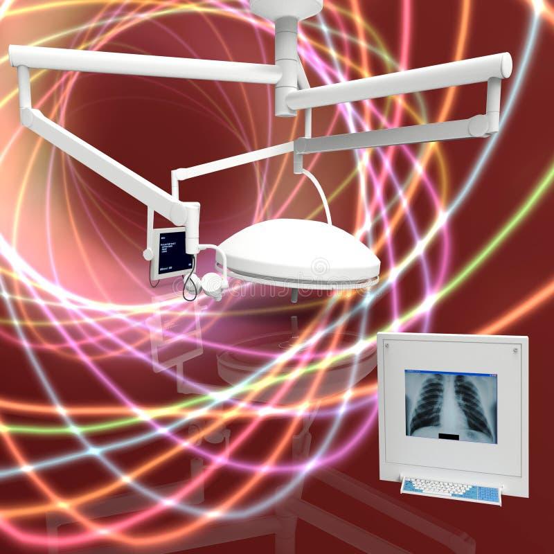 Modern equipment in operating room of hospital 3d illustration stock illustration