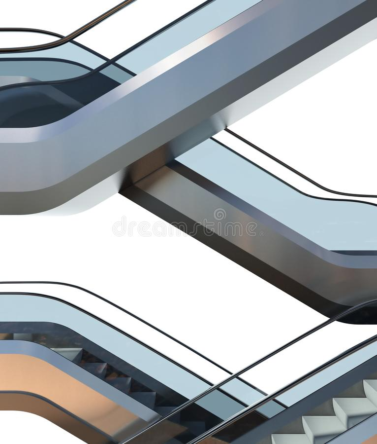 Modern escalator stairs in office building royalty free stock image