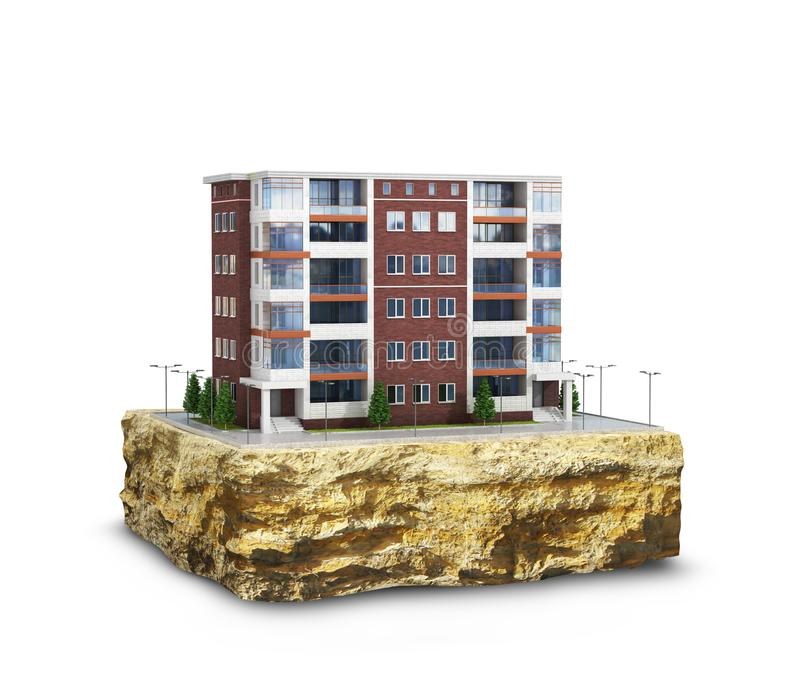 Modern European residential complex on a plot of land. Isolated on white background vector illustration