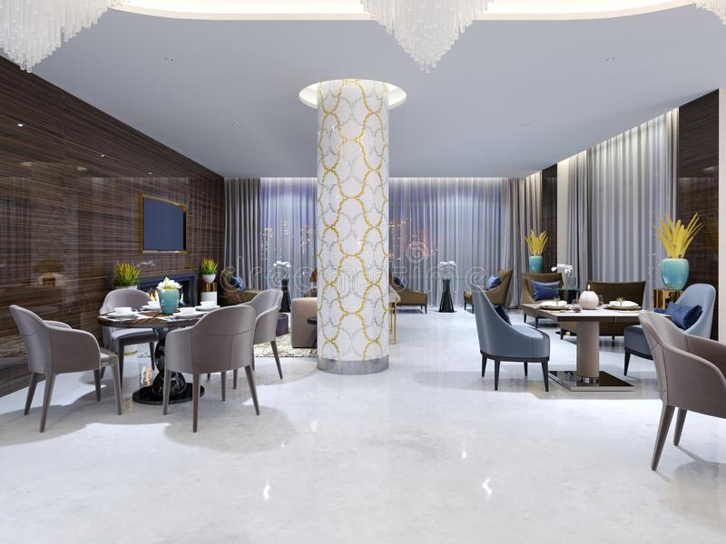 Modern evening restaurant in hotel with various furniture and the hidden ceiling light and patterns from a mosaic on white columns royalty free illustration