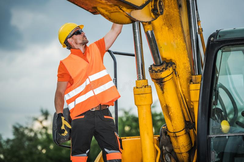 Modern Excavator Operator stock images