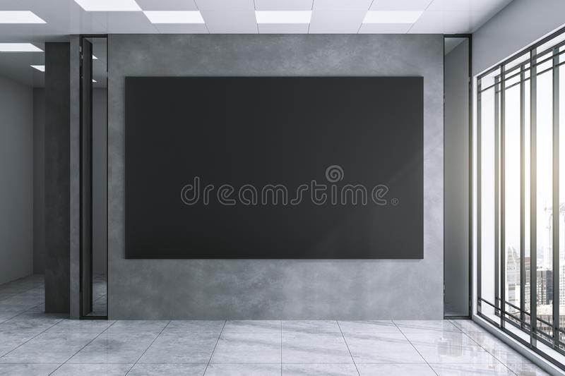 Modern exhibition hall with black poster stock illustration