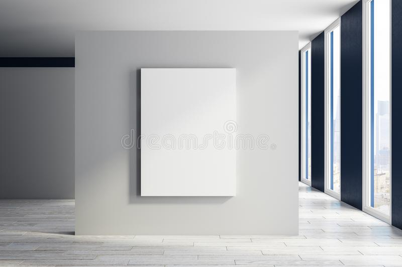 Modern exhibition hall with poster stock illustration
