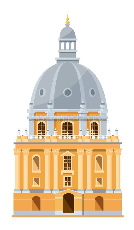 Modern exterior of building of British University in Oxford, England. Education of students in prestigious, oldest, world university. Education, knowledge stock illustration