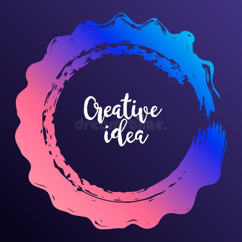 Modern färgrik cirkelaffisch Färgpulverrundaslaglängd på mörk backgro royaltyfri illustrationer