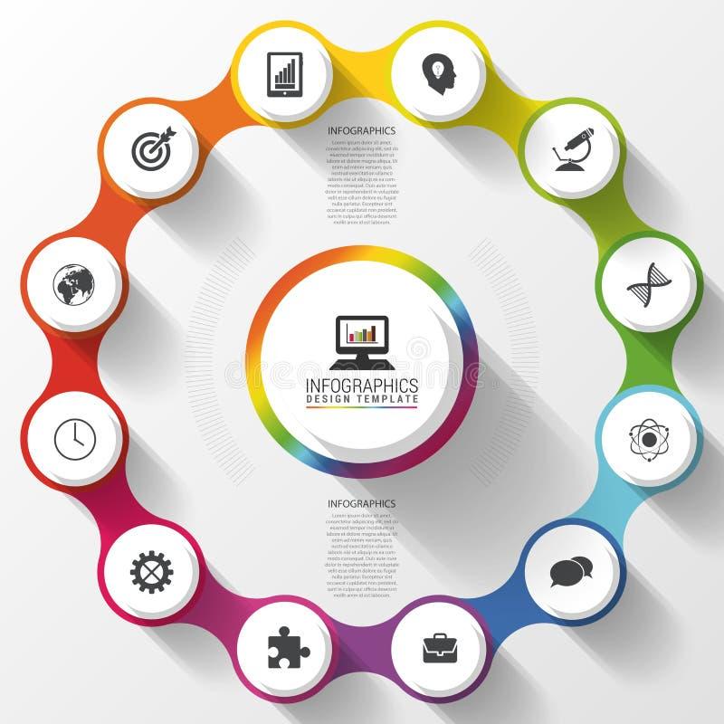 Modern färgrik design för affärscirkel Alternativbaner Infographics 12 tolv delar också vektor för coreldrawillustration royaltyfri illustrationer