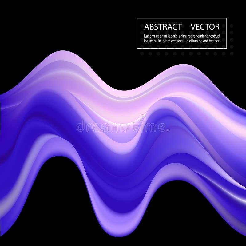 Modern färgrik flödesaffisch Bakgrund för vågvätskeformfärg stock illustrationer