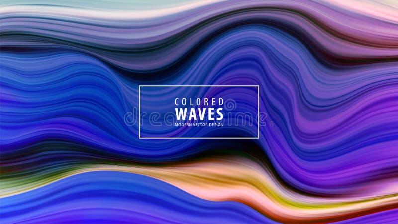 Modern färgrik flödesaffisch Vågvätskeform i blåttfärgbakgrund Isolerat på vitbakgrund också vektor för coreldrawillustration royaltyfri illustrationer