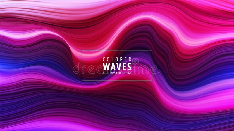 Modern färgrik flödesaffisch Vågvätskeform i blåttfärgbakgrund Isolerat på vitbakgrund också vektor för coreldrawillustration stock illustrationer