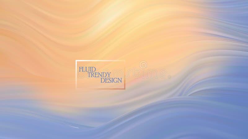 Modern färgrik flödesaffisch Vågvätskeform i blåttfärgbakgrund Konstdesign för ditt designprojekt royaltyfri illustrationer