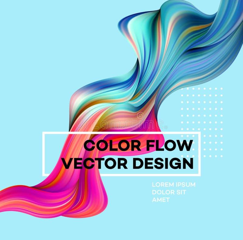 Modern färgrik flödesaffisch Vågvätskeform i blåttfärgbakgrund Konstdesign för ditt designprojekt vektor stock illustrationer