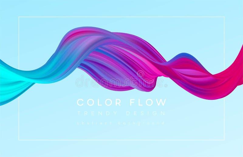 Modern färgrik flödesaffisch Vågvätskeform i färgbakgrund Konstdesign för ditt designprojekt vektor vektor illustrationer