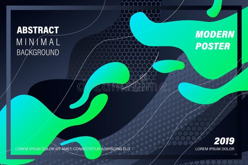 Modern färgrik flödesaffisch Vågvätskeform i svart färgbakgrund Konstdesign för ditt designprojekt vektor royaltyfri illustrationer