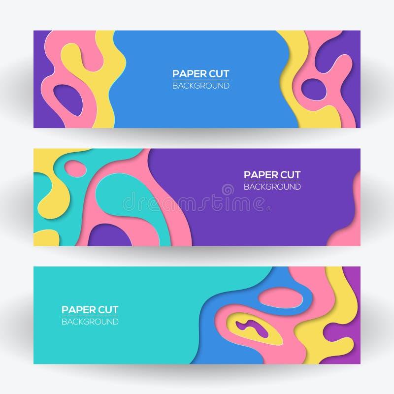 Modern färgrik pappers- uppsättning för mallar för snittkonstdesign med abstrakt vågfärgstänk för tecknad film royaltyfri illustrationer