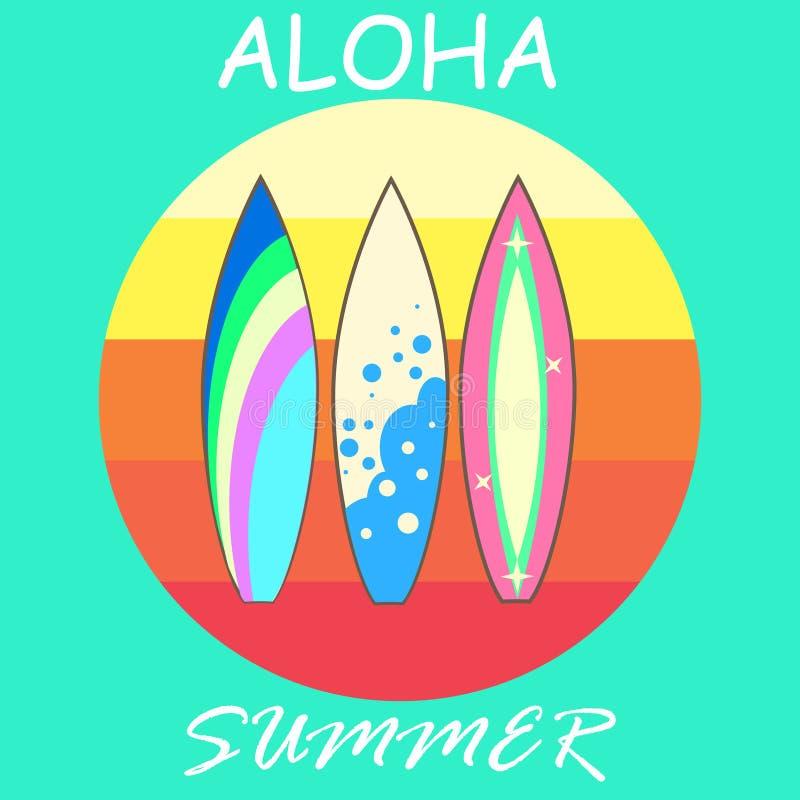 Modern färgrik surfingbrädauppsättning för vektor vektor illustrationer
