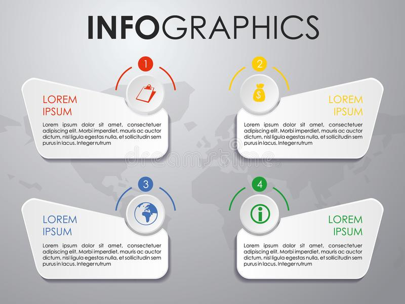 Modern färgrik vektor för infographicsalternativmall på grå färgbac royaltyfri illustrationer