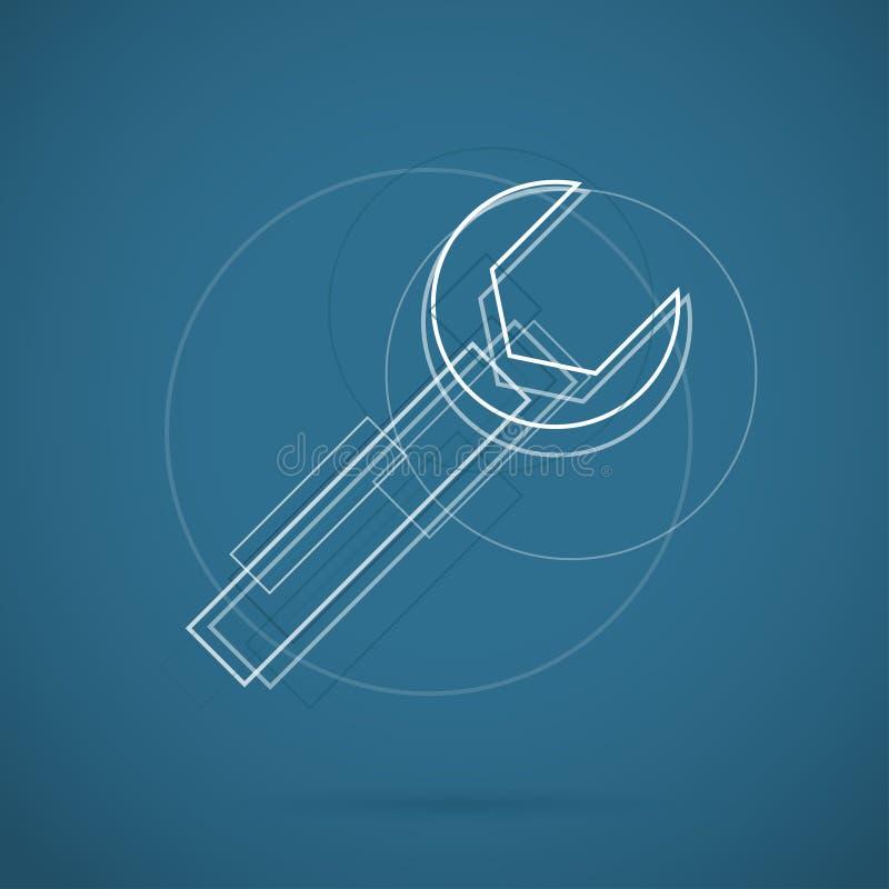 Modern färgsymbol för skruvnyckel för rengöringsduk Nytt idérikt designsymbol stock illustrationer