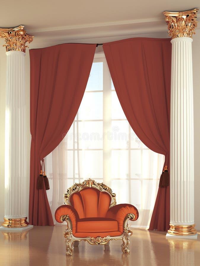 Modern fåtölj i kunglig interior stock illustrationer