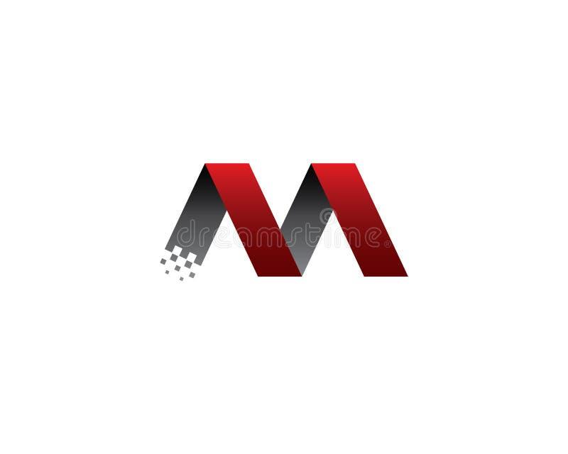 Modern för bandinitial för bokstav M monogram för data- och teknologilogo stock illustrationer