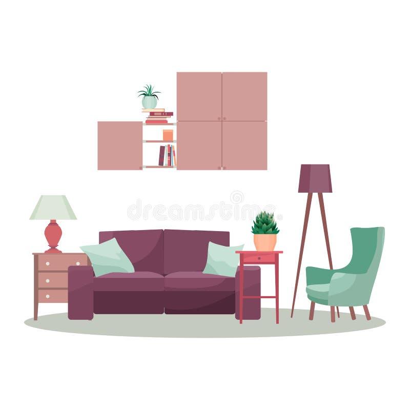 Modern för designbegrepp för inre 3d illustration Vektorvardagsrum stock illustrationer