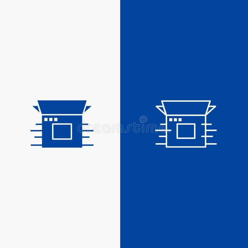 Modern, för produkt, för frigörarlinje och för skåra för fast symbol för blå för baner symbol för linje och för skåra fast blått  royaltyfri illustrationer
