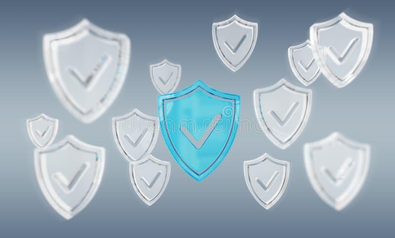 Modern för sköldantivirus 3D för digitala data tolkning stock illustrationer