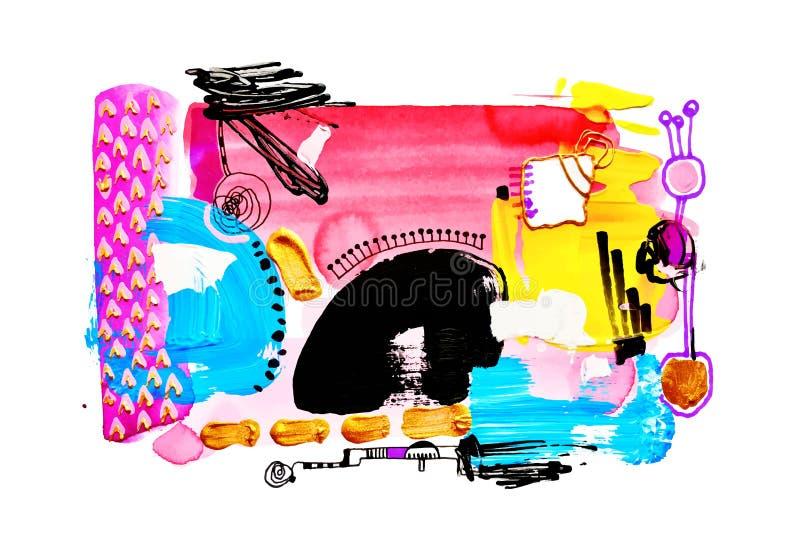 Modern för vattenfärgmålning för abstrakt konst sammansättning vektor illustrationer
