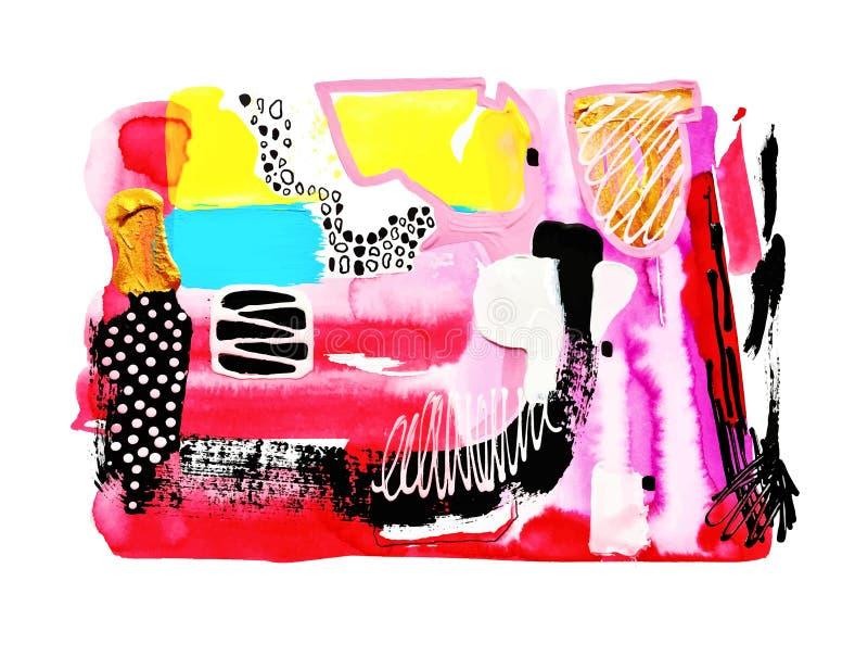 Modern för vattenfärgmålning för abstrakt konst sammansättning royaltyfri illustrationer