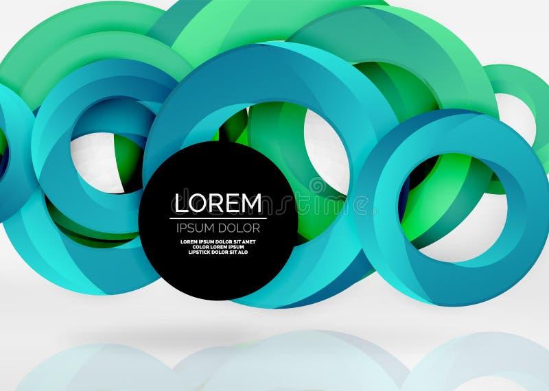 Modern för vektorabstrakt begrepp för cirkel 3d bakgrund royaltyfri illustrationer