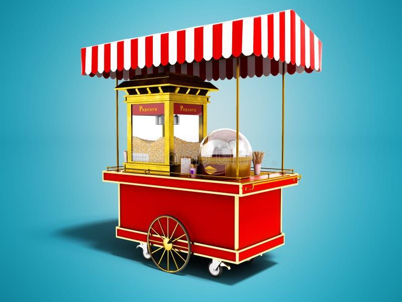 Modern försäljning av popcorn från den röda lastbilen 3d att framföra på blå backgrou royaltyfri illustrationer