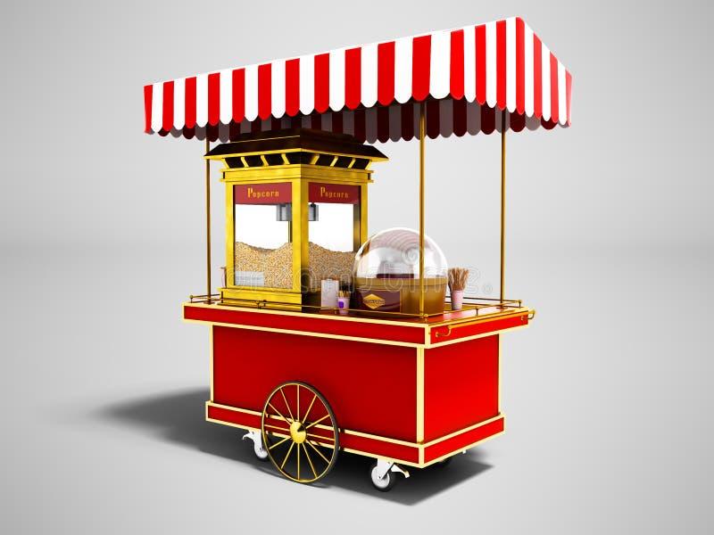Modern försäljning av popcorn från den röda lastbilen 3d att framföra på grå backgrou vektor illustrationer