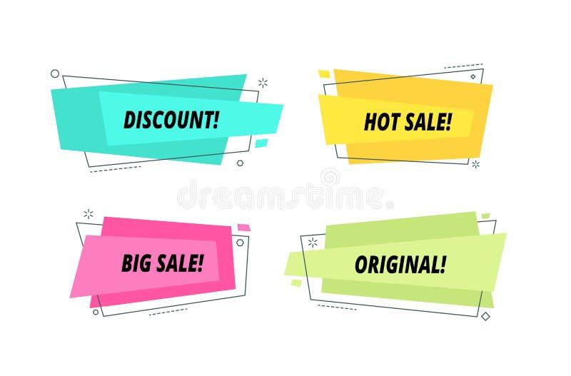 Modern försäljningsbaneruppsättning Former för text för toppen prisballong säljer en gro grafiska den färgrika etiketten f royaltyfri illustrationer