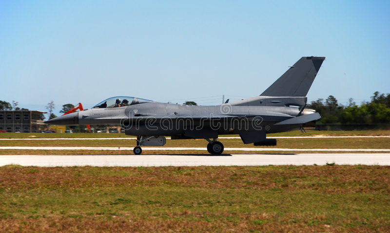 Modern F-16 fighter jet. Ready for take off stock photography