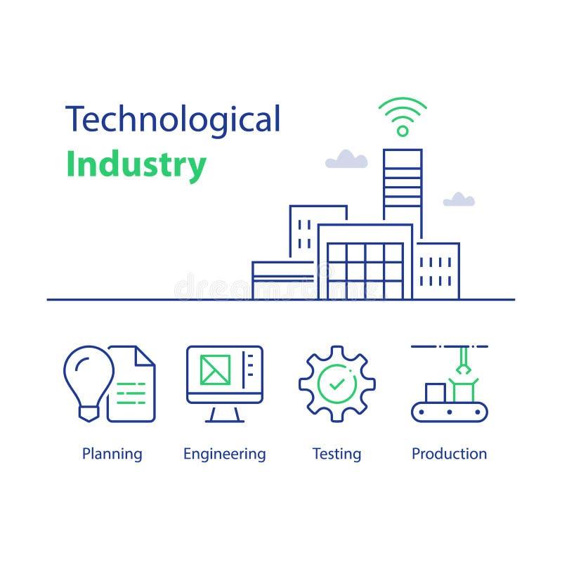 Modern fabriksbyggnad, teknologisk bransch, automatiserad produktion, smart lösning, monteringsband, kvalitets- kontroll vektor illustrationer