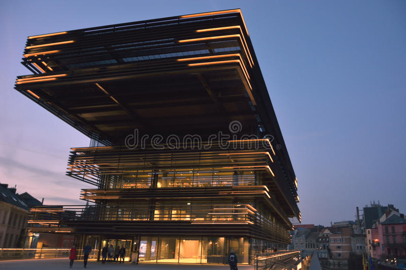 Modern facade at blue hour. Newest landmark in Ghent Belgium. Detail of The new library, The library is called `de Krook` and situated in the hart of The royalty free stock photos